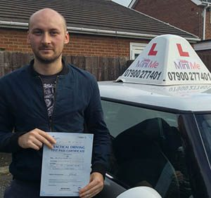 phil cox first time test pass
